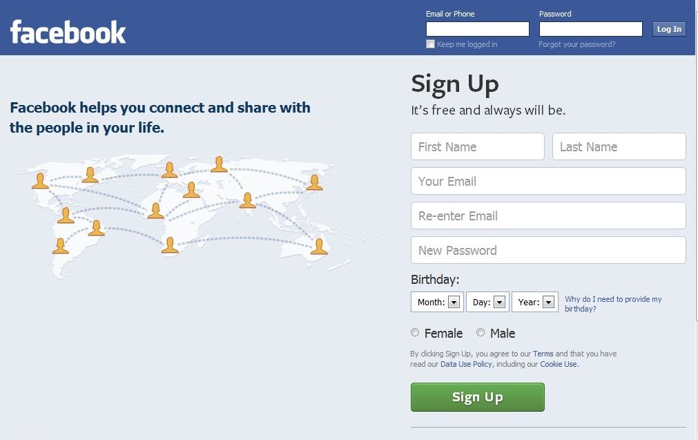 New Facebook Login Page recently launched by Facebook