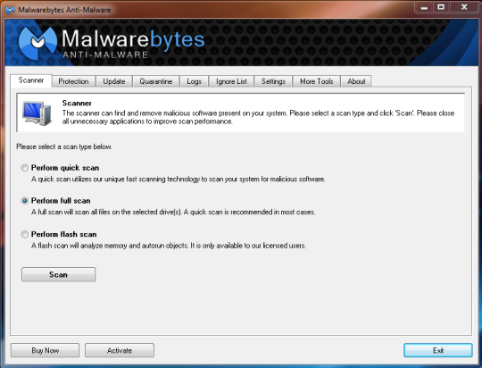 Screenshot Malwarebytes Anti-Malware 1.75