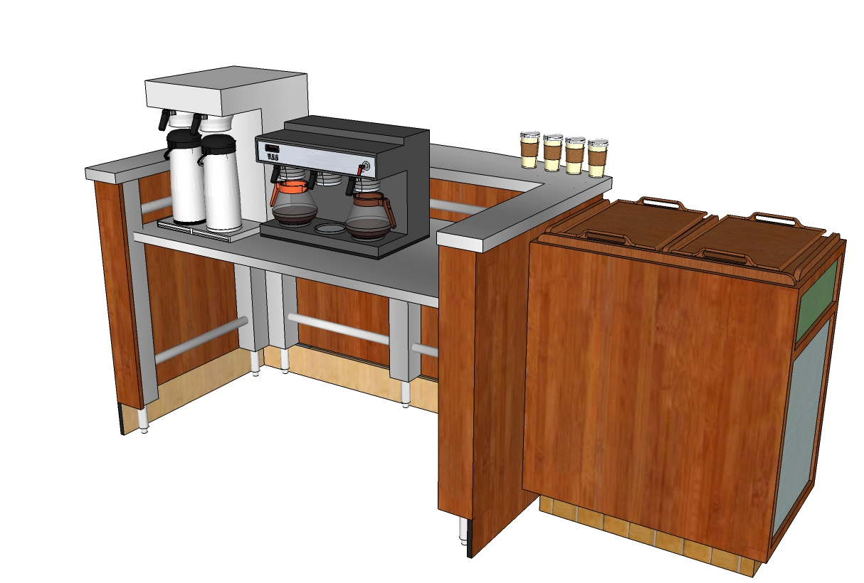 3d image maker for the coffee shop counter table created for Coffee shop design software
