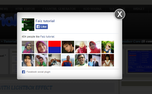 Facebook Popup (Like Box Widget) + Cookie