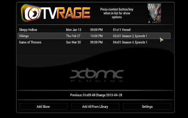 TVRAGE XBMC