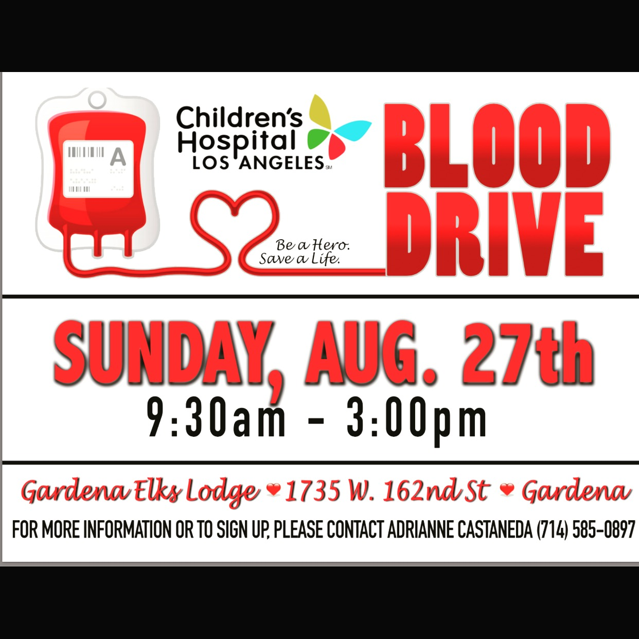 CHLA Blood Drive - Aug 27th