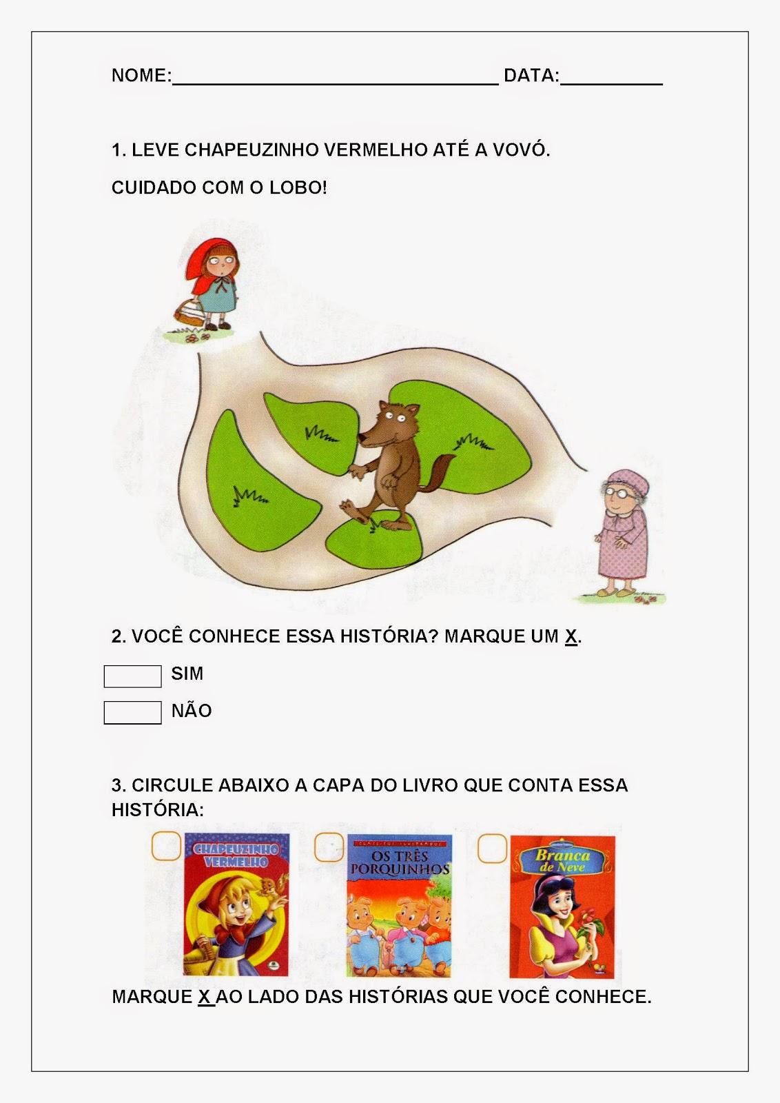 Atividades de Alfabetização e Letramento - Chapeuzinho Vermelho