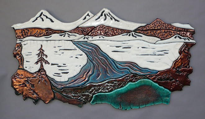 Three Sisters Oregon~Raku tile mural
