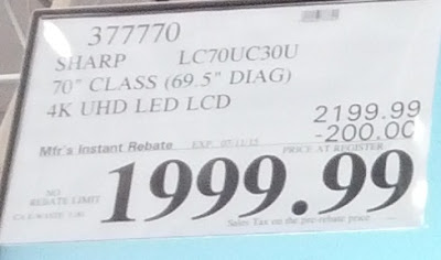 Deal for the Sharp LC70UC30U 70in UHD LED LCD TV at Costco
