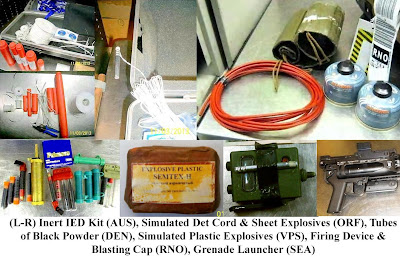 IED training kits and intert explosives, grenade launcher, black powder, propane, det cord.