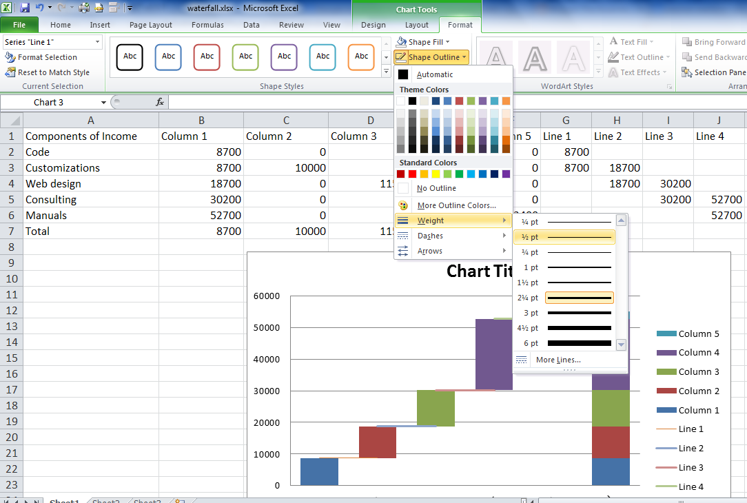 Waterfall chart in Excel pic 14