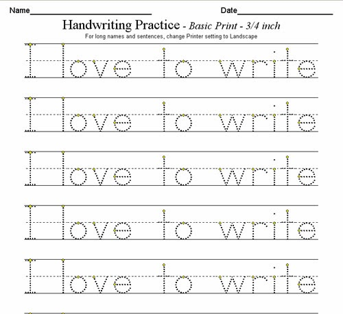Custom Handwriting Worksheets
