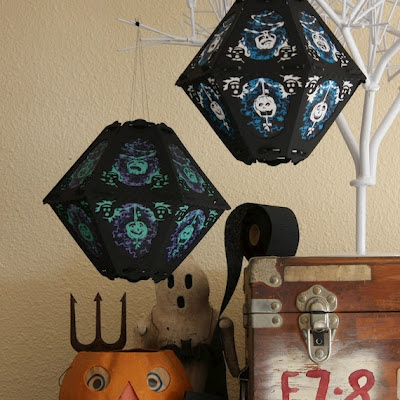Vintage style Halloween Lantern in Hitchock Blue on Ghost Skin by Bindlegrim for 2012