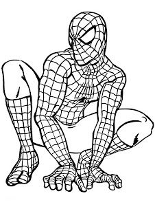 Spider man sitting on the floor coloring page free download and draw colors wallpaper