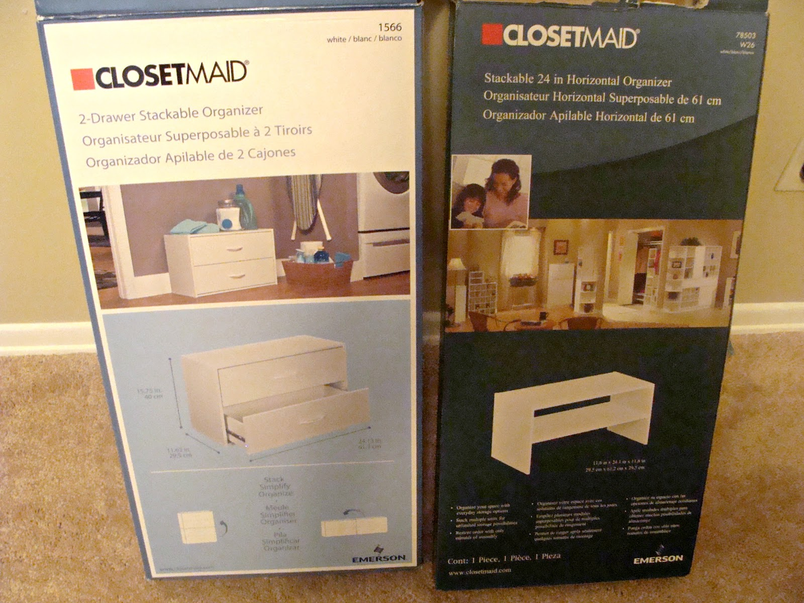 I Looked All Around And Finally Settled On These ClosetMaid Organizers From  Lowes. I Believe I Paid $10 For The Shelf And $35 For The Drawers.