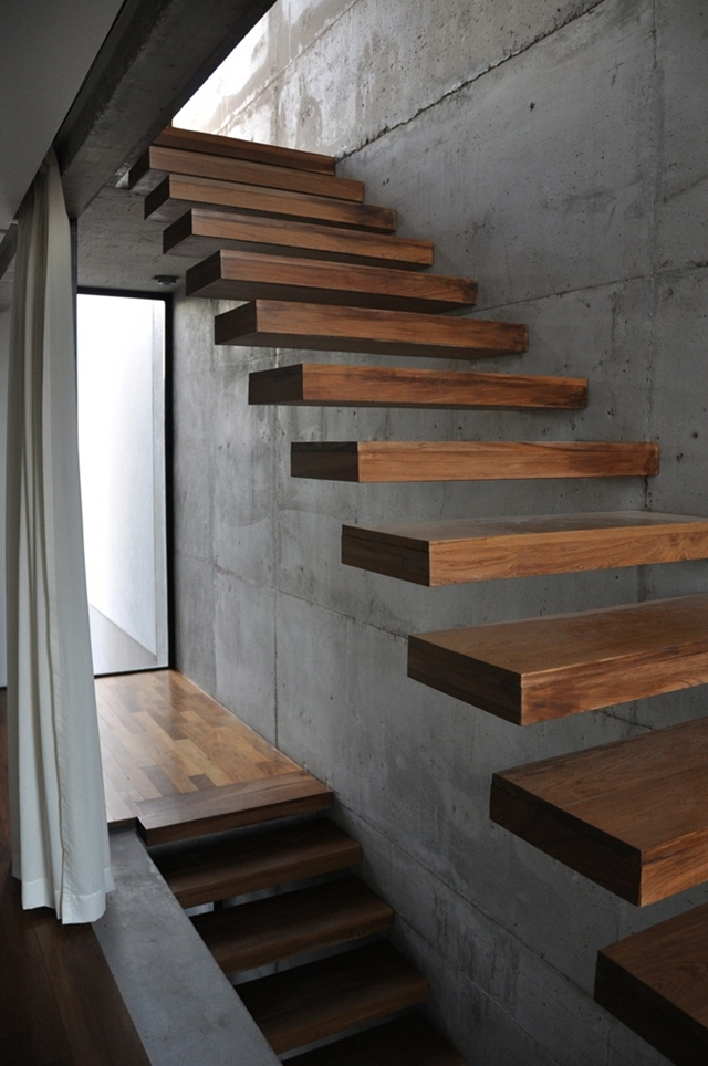 Floating thick wooden stairs