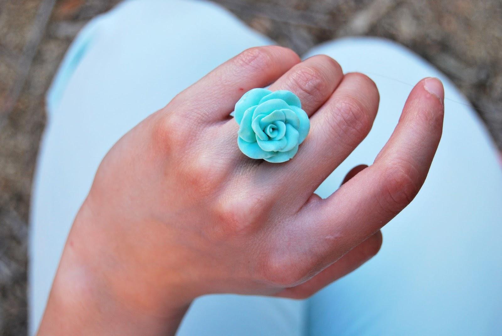 anillo fimo verde mint