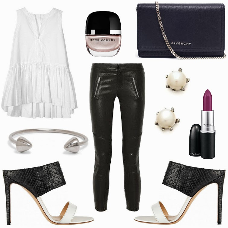 Tibi white billowy poplin top, Marc Jacobs nail polish in Gatsby, Givenchy Pandora Grained Leather Shoulder Bag, Lauren Wolf pearls, MAC lipstick in Heavenly Bird, J Brand cropped leather pants, Gianvito Rossi python leather mules black and white heels, BaubleBar silver cone cuff