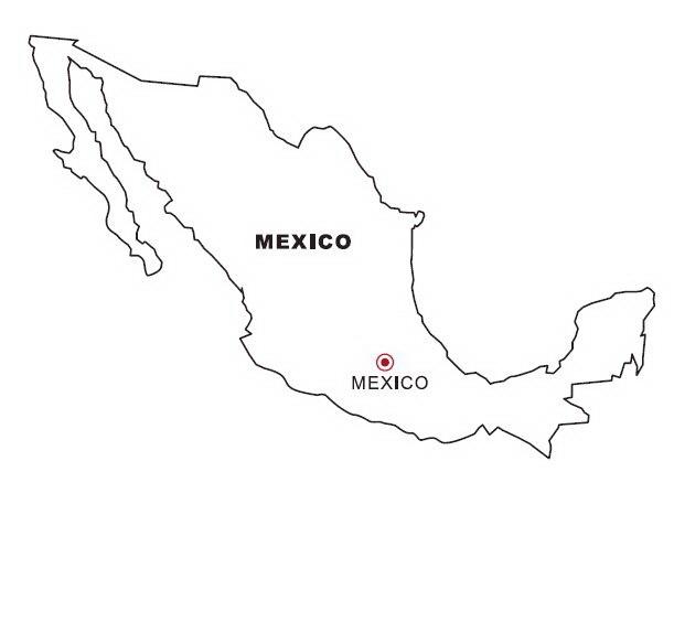 Mapa y bandera de mexico para dibujar pintar colorear - Mappa messico mappa da colorare pagina ...