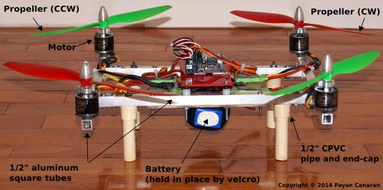 Frame and parts of DIY quadcopter built from scratch (frame, motors, propellers, battery, infrastructure components)