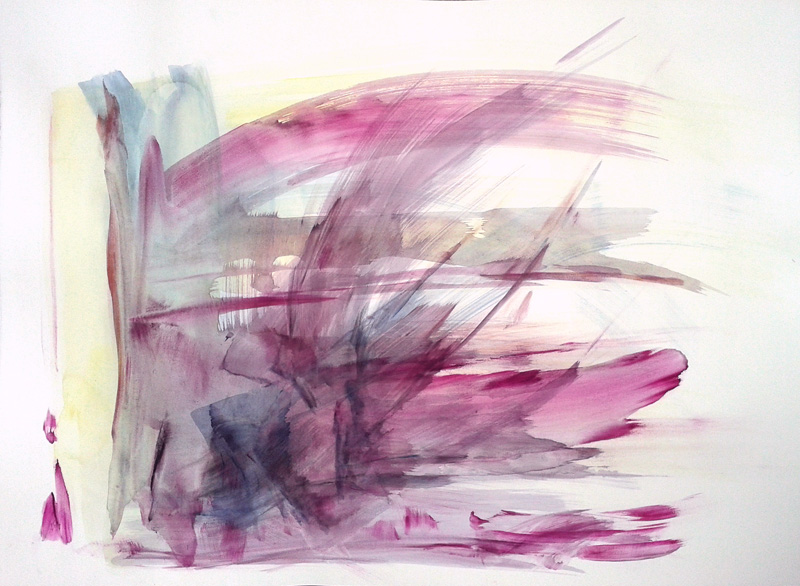 abstract gestural watercolor painting, conceptual modern contemporary art, brushstrokes, wings, angel painting, purple yellow white