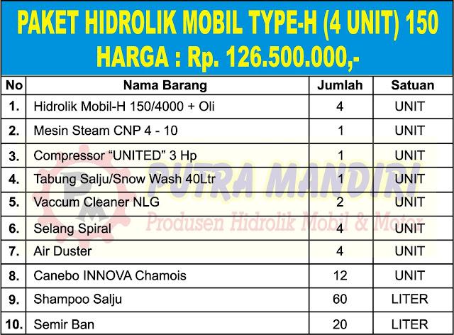 PAKET HIDROLIK MOBIL TYPE-H (4 UNIT) 150