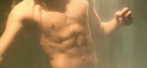 Kim Soo Hyun's rock hard six pack displayed in an early shower scene.
