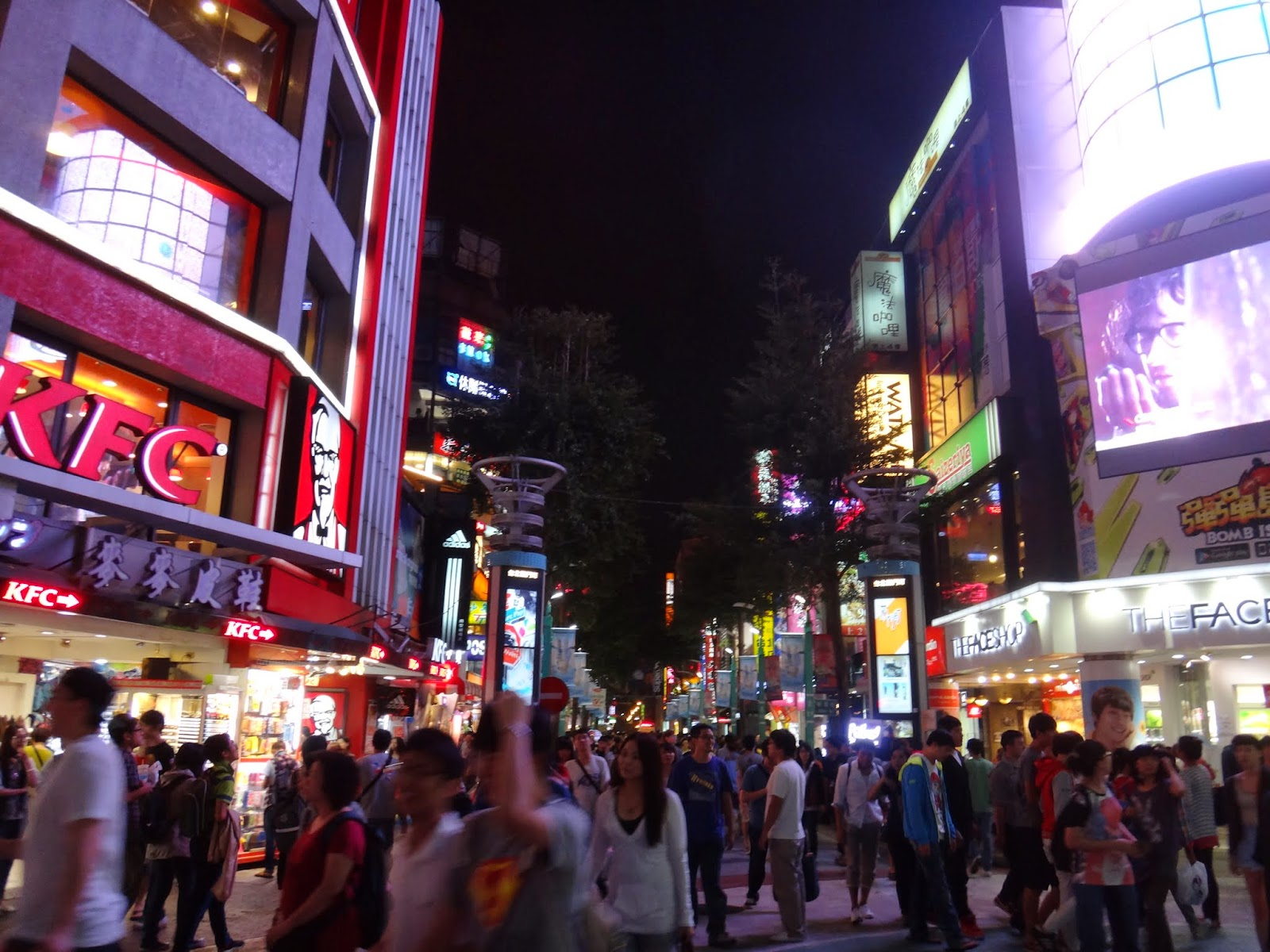 Crowded Ximending at night in Taipei, Taiwan
