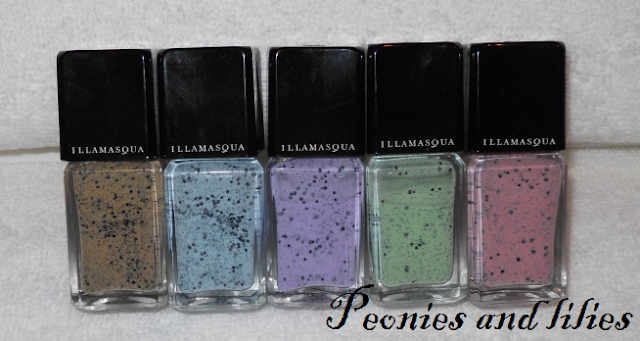 Illamasqua speckled nail varnish, Illamasqua freckle nail varnish, Illamasqua fragile nail varnish, Illamasqua mottle nail varnish, Illamasqua scarce nail varnish, Illamasqua speckle nail varnish, Illamasqua I'mperfection