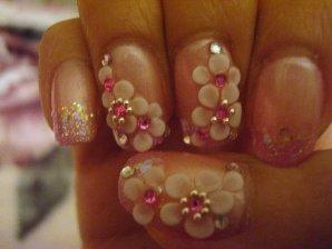 Flower Print 3d Nail Art