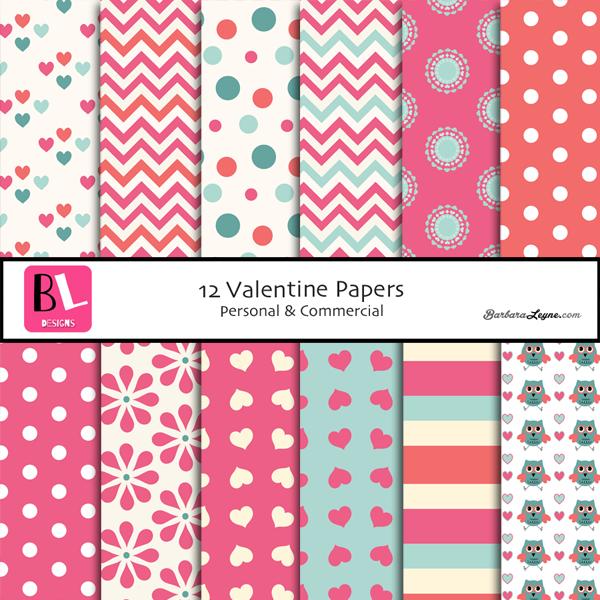 Variety of digital valentine papers in pink, cream, aqua.