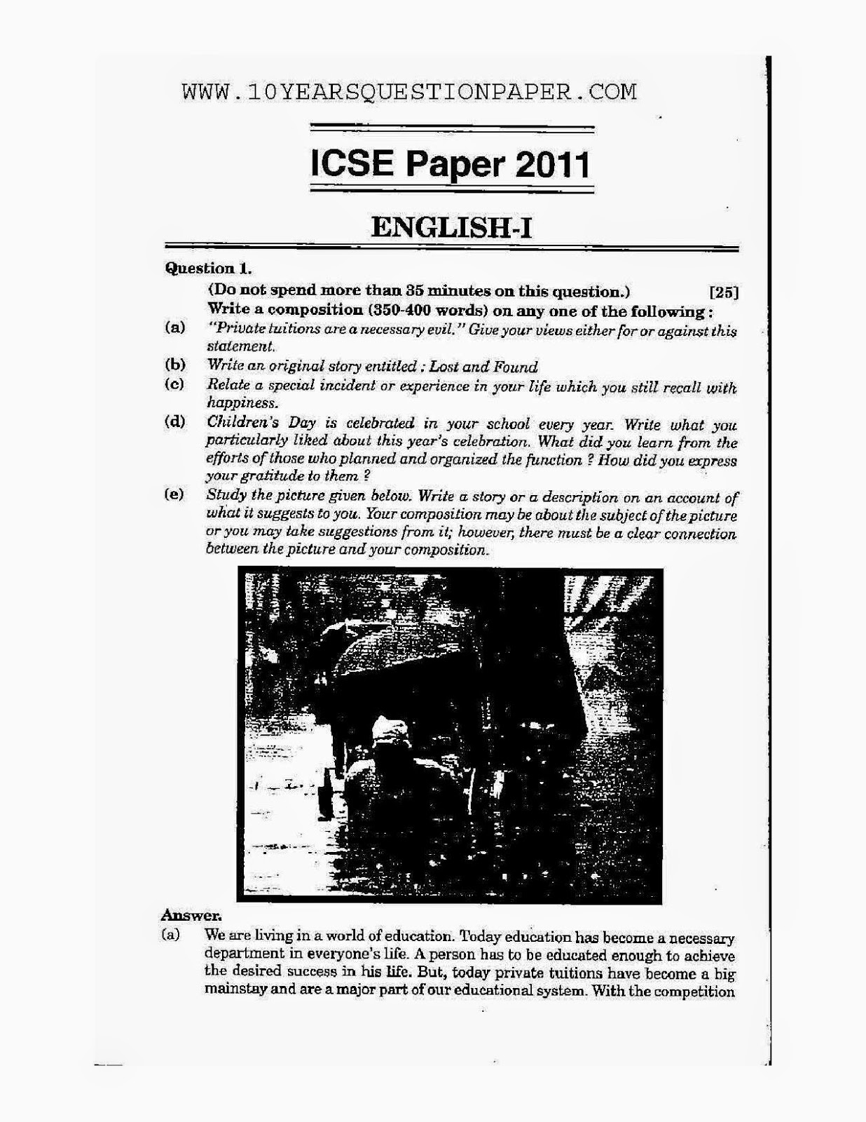 ICSE Board Exam 2011 Mathematics