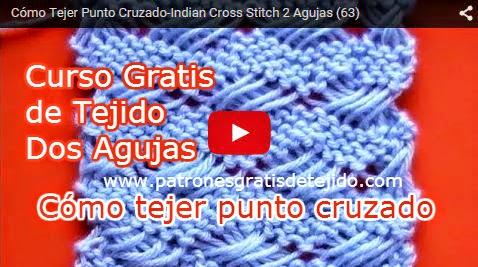 Clase gratis de tricot como tejer punto cruzado indian
