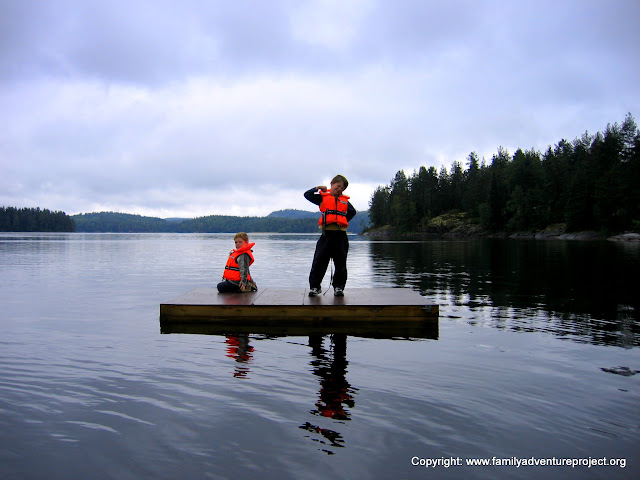 Kids on a platform on a lake