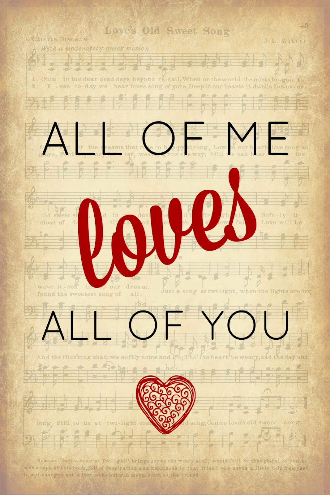 Valentine Printable, Song Lyric, Valentine Decorations, Valentine Decor