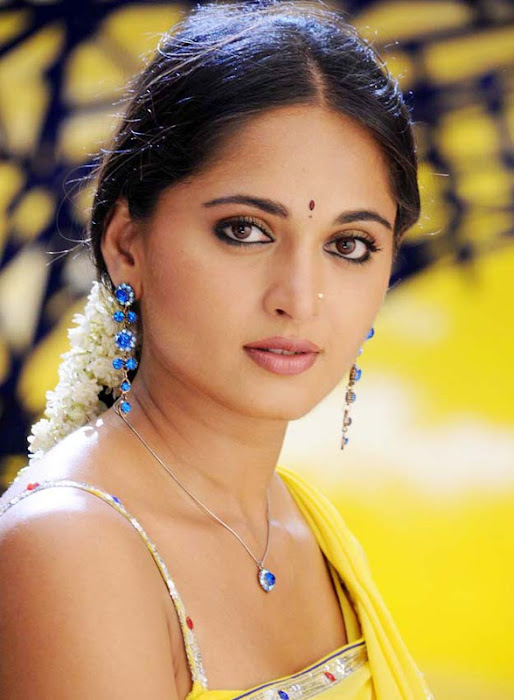 anushka in yellow saree latest photos
