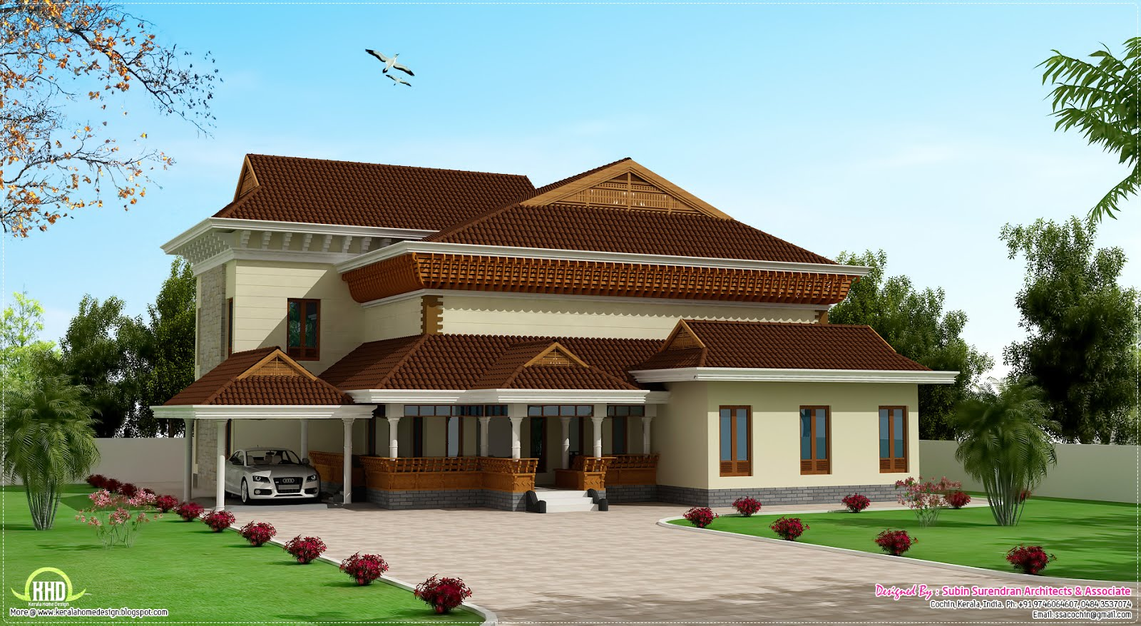 Traditional mix kerala house design kerala home design for Kerala home plan