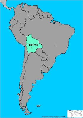 Mapa la ubicación de Bolivia en América del Sur