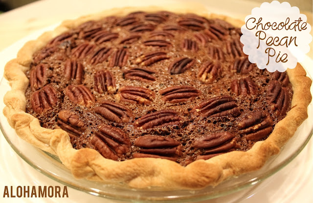 Chocolate Pecan Pie. This classic holiday/Thanksgiving pie has a fresh new look.  The dark/bittersweet chocolate pecan pie is a chocolate lover's dream.  Absolutely delicious, rich, decadent, and the perfect addition to your meal. Alohamora Open a Book http://alohamoraopenabook.blogspot.com/ Make Ahead, recipe, pie, dessert,