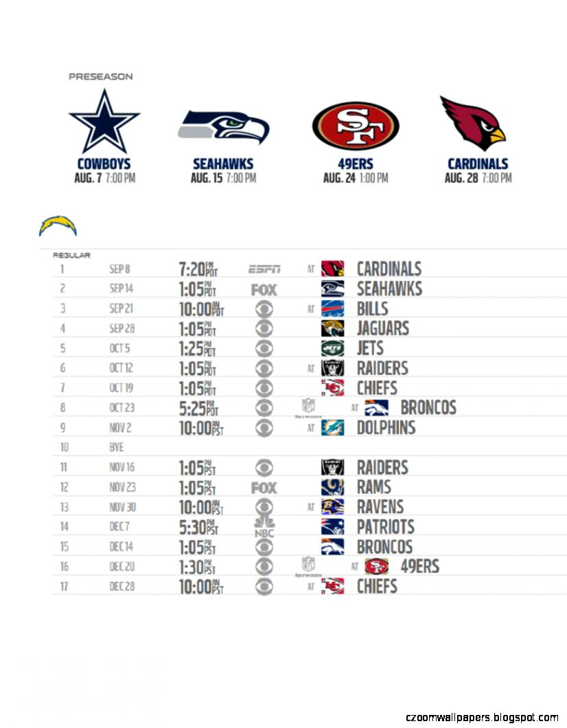 San Diego Chargers 2014 Season Schedule  San Diego Real Estate Edge