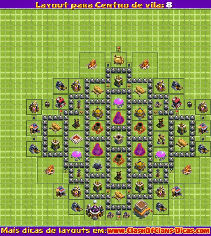 Melhores Layouts para Clash of Clans: Centro de Vila Nível 8