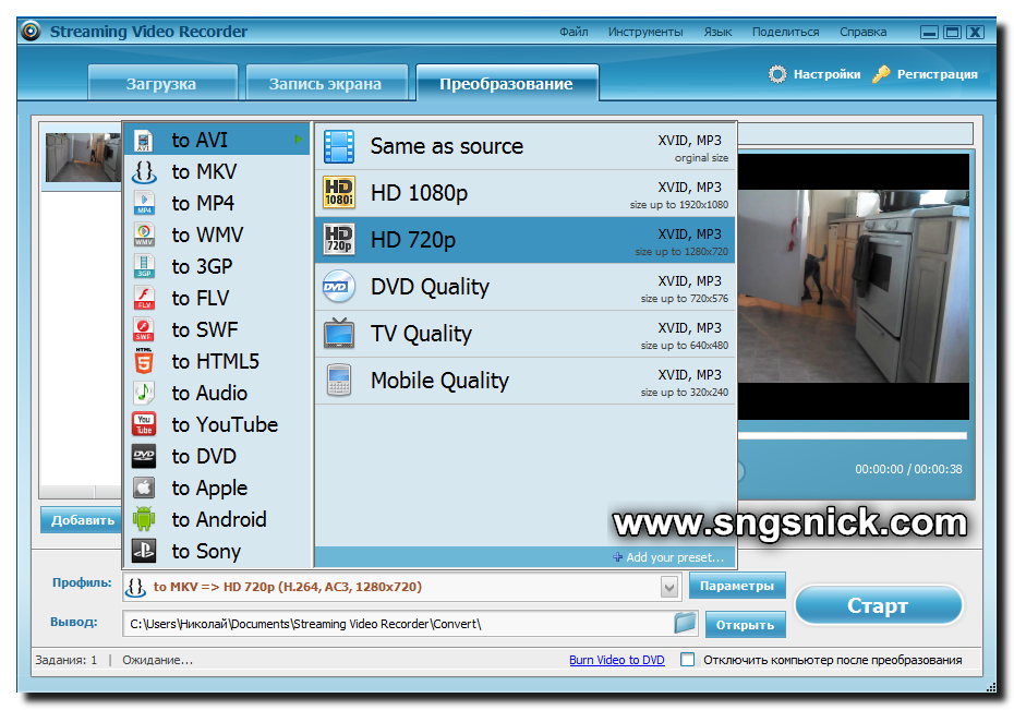 Streaming Video Recorder. Выбираем формат