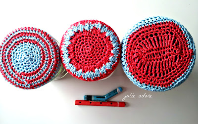ronds, bleu rouge, crochet