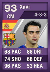 Xavi (IF3) 93 Purple iMOTM - FIFA 12 Ultimate Team Card