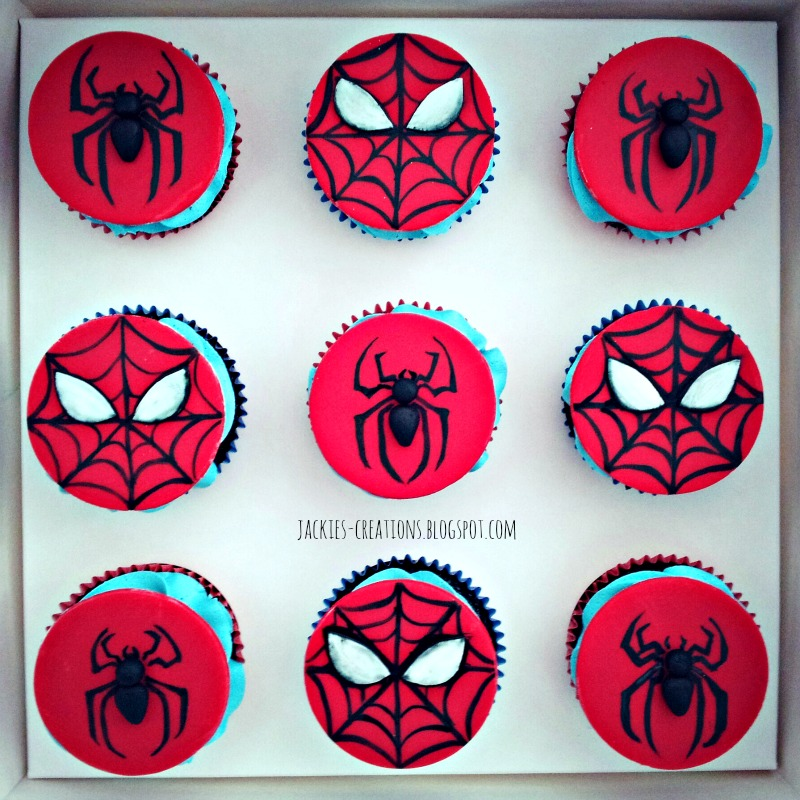Fondant spiderman cupcake toppers - photo#23
