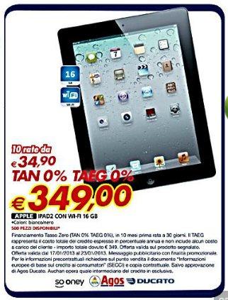 Torna la promozione a tasso zero sull'iPad 2 nell'ultimo volantino Auchan