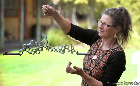 "Linda Bruce, Pukehou, at EIT Eastern Institute of Technology, Taradale, Napier, with ""Cloud Machine: Conveyor"", which has been selected for New Zealand's Sculpture OnShore exhibition in Auckland next month. photograph"