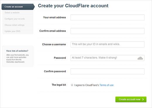Membuat akun pada CloudFlare