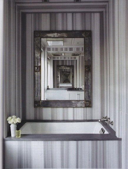 Grey Marble Bathroom : do love this chic grey and white striped marble bath area.