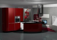 Diseño de cocina en rojo