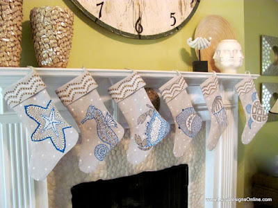 hand painted sea life christmas stockings