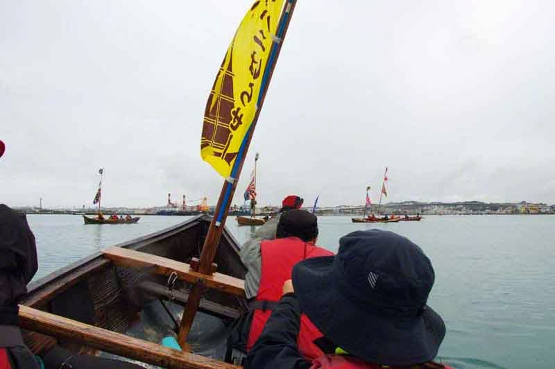 sailing sabani boats in parade, Itoman