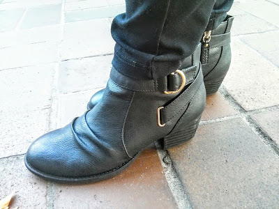 black boots with a buckle