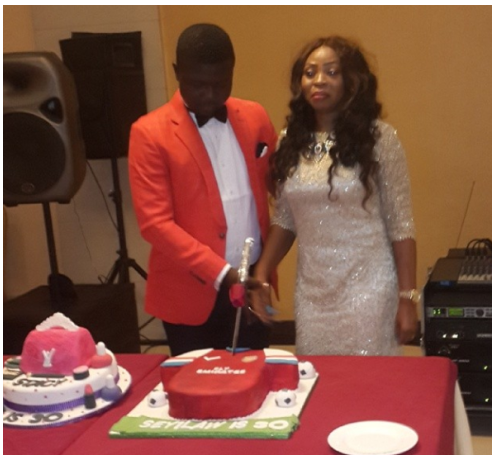 Seyi Law And Wife Cuting The Birthday Cake